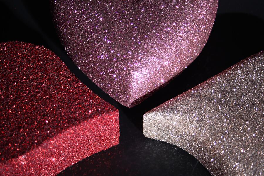 glitter effect coating on cut EPS polystyrene shapes, hearts and letters